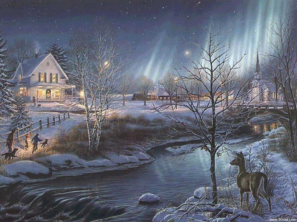 old cabin winter scene wallpaper - photo #11