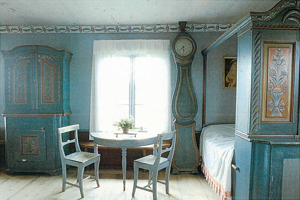 Da un museo svedese è tratta poi la foto di questa camera da letto ...