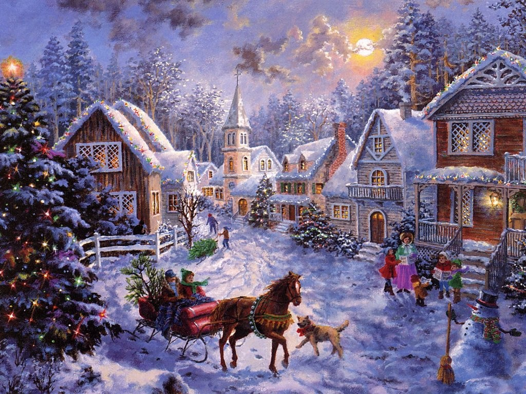 Paesaggio natalizio innevato oltre il cancello for Sfondi desktop grandi